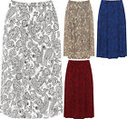 Plus Womens Paisley Print Midi Skirt Ladies Elasticated Stretch Waist New 16-30