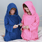 Childrens Cotton Hooded Poncho, Beach, Bath, Swimming, Holiday, Kids, Pink, Blue
