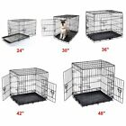"24"" 30"" 36"" 42"" 48"" Dog Cage Crates Puppy Pet Carrier Training With ABS Tray UK"