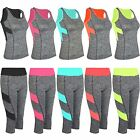 Ladies Tank Vest or Capri Leggings Women Active Mid-Calf Pants Yoga Top XS-L