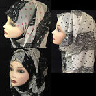 Laces design silk and chiffon blend hijab, scarf, shawl.