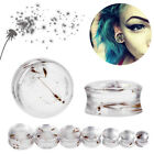 1 Pair Acrylic Dandelion Flare Flesh Tunnel Ear Plug Earring Stretcher Taper