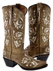 Women's Light Brown Leather Studded Western Rodeo Cowboy Boots Riding Fashion