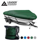 """600D Olive Trailerable V-hull Tri-hull Bass Boat Cover 14-16ft Up To 90"""""""