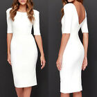 Ladies Womens Half Sleeve Bodycon Midi Dress Backless Cocktail Evening Party NEW