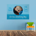 PERSONALISED BLUE CHRISTENING CELEBRATION PHOTO BANNER NAME AND DATE 4 SIZES
