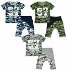 Boys Shorts Top Army Camo Tee Young Team Outfit Drop Crotch Set 4 to 12 Years