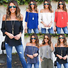 Causal Womens Ladies Long Sleeve Off Shoulder Top Loose T-Shirt Blouse OL Shirt