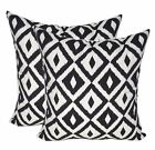 Qty 2 - Indoor / Outdoor Black White Aztec Geometric Throw Pillows - Choose Size