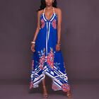 ❤ Beach Dress Womens Casual Floral Lace-up Halter Dresses V-neck Backless Dress