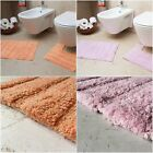 Pink & Coral 100% Cotton Bathroom Mats Set - Washable Bath & Pedestal Mat Sets