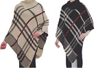 Womens Ladies Tartan Polo Neck Knitted Check Poncho Shawl Sweater Jumper Cape