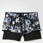 ADIDAS STELLA MCCARTNEY RUN 2 IN 1 SHORTS FLORAL PRINT AX7269 Black flower