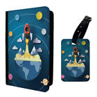 Abstract Space Rocket Planets Clouds Luggage Tag &/OR Passport Holder - S622