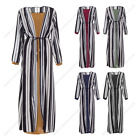Womens Ladies Long Stripy Two Peice Abaya Modest Casual Summer Dress Outdoor Wea
