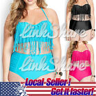 TX PLUS SIZE Women Retro Fringe Top High Waisted Bikini Swimwear Swimsuit 3XL XL