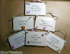 Hand Made Wooden Plaque Any Wording novelty buttons jute gingham funny sayings