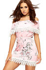 Womens Lace Edging Off Shoulder Belted Dress Ladies Sleeveless Floral Print New