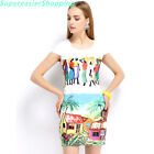 Women Pencil Dress Round Collar Short Sleeve Colorful Print Mini Evening Dresses
