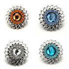 Alloy Flower Rhinestone Resin Snaps Buttons Charms Fit 18mm Snap Jewelry