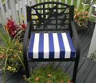 Outdoor Foam Seat Cushion w/ Ties Navy Blue White Stripe Choose Size & Thickness