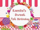 Sweet Candy Land Birthday Banner Candy Party Poster Custom Rainbow Colors Theme
