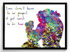 Beauty and the Beast, Watercolor art poster, Print (117)
