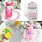 Cartoon 3D Cute drunk Rabbit Strap silicone case cover for iphone X 8 7 6S plus