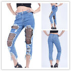 2017 New Women Destroyed Ripped Distressed Jeans Slim Denim Pants Trousers 8SJ