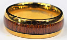 Tungsten Carbide  8mm Koa Wood Inlay 14k Gold Plated Wedding Band Ring