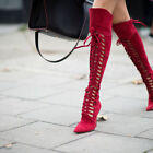 New Womens Pointy Toe Strappy Cage Lace Up Over The Knee High Stiletto Heel Boot