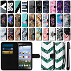 For ZTE Lever LTE Z936L Ultra Slim Canvas Wallet Case Cover w/ Credit Card + Pen