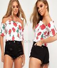 Womens Short Sleeve Floral Off The Shoulder Bardot Crop T-Shirt Ladies Top 8-14