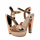 Womens Shoes Delicious Cornelia Pearl Embellished Open Toe Heel Rose Gold *New*