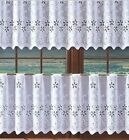FLORAL WHITE  KITCHEN CAFE NET CURTAIN -  SOLD BY METERS 60 cm EYELET TOP