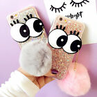Cute Big Eyes Plush Ball Glitter Bling Soft Case Cover For iPhone 7 7+ 6S 6 Plus