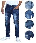 9 Crowns Essentials Men's Moto Distressed Stretch Skinny Jeans