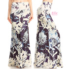 Floral Navy Sublimation high waist fold over maxi long skirt (S/M/L/XL)