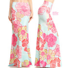 Floral Pastel Mint Sublimation high waist fold over maxi long skirt (S/M/L/XL)