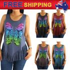 AU Women T-shirt Tank Top Cotton Fringe Hemline Sleeveless Dreamcatcher Design