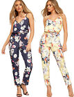 Womens Floral Print Strappy Wrapover Jumpsuit Ladies New Trousers Full Length