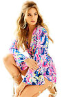 $178 Lilly Pulitzer Gloria Long Sleeve Romper indigo sunken treasure 00-14
