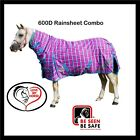 LOVE MY HORSE 600D 5'6 - 6'6  600D Waterproof Rainsheet Combo Rug Pink Check