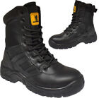 MENS LEATHER SAFETY STEEL TOE WORK BOOT SIDE ZIP ARMY PATROL SECURITY CADET SHOE