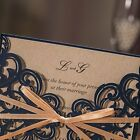 Wedding Invitations Cards Laser Cut Rustic Navy Blue Square Invitations with Bow