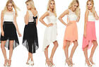 Womens Lace Sleeveless Dress Ladies Neon Bow Back Dip Hem Lined Belted Dress