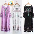 Vintage 70s Hippie Mexican Floral Embroidered Deep V neck BOHO Ethnic Maxi DRESS
