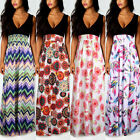 Prom Gown Womens Floral Print Sleeveless Deep V Neck Maxi Dress Evening Cocktail