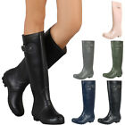 New Womens Waterproof Round Toe Knee High Tall Riding Rain Boots Wellies Pull On