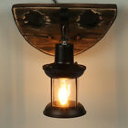 Ceiling Lighting Home Vintage Wooden Wall Pendant Light Metal GLASS Lampshade